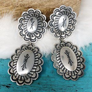 Cowgirl Western Sterling Concho Clip Earrings